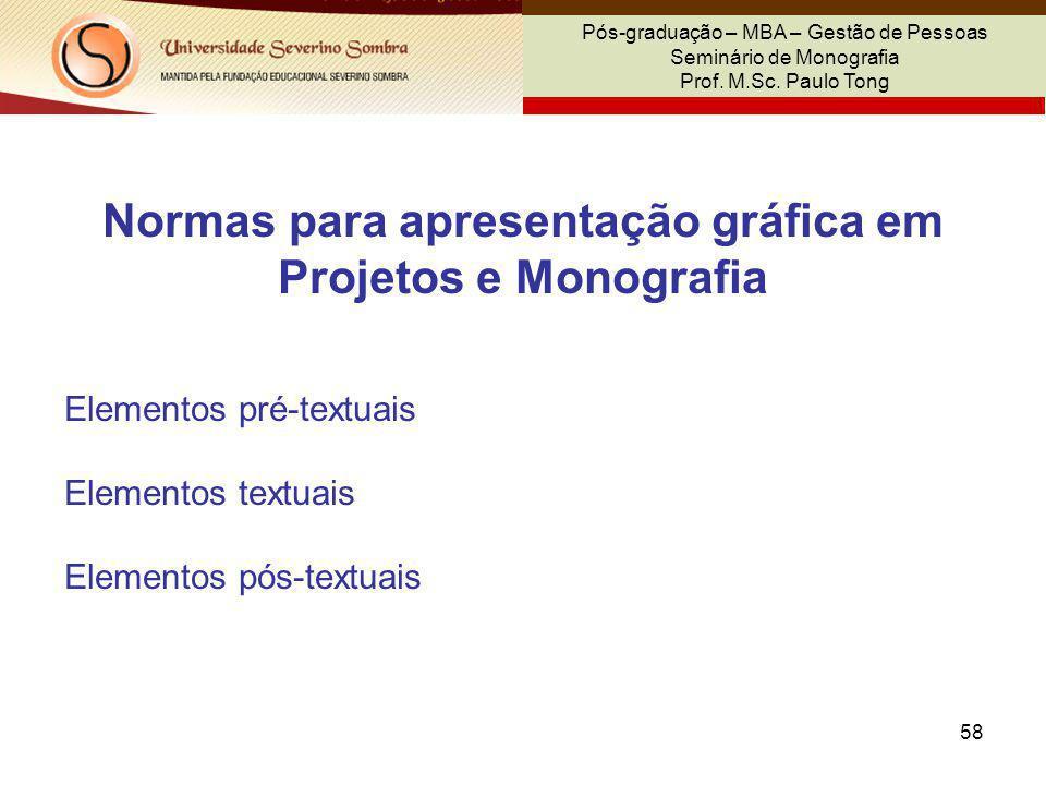 Normas para apresentação gráfica em Projetos e Monografia