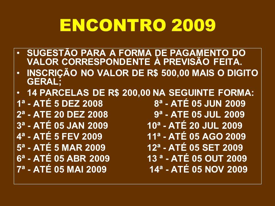 ENCONTRO 2009 SUGESTÃO PARA A FORMA DE PAGAMENTO DO VALOR CORRESPONDENTE À PREVISÃO FEITA. INSCRIÇÃO NO VALOR DE R$ 500,00 MAIS O DIGITO GERAL;