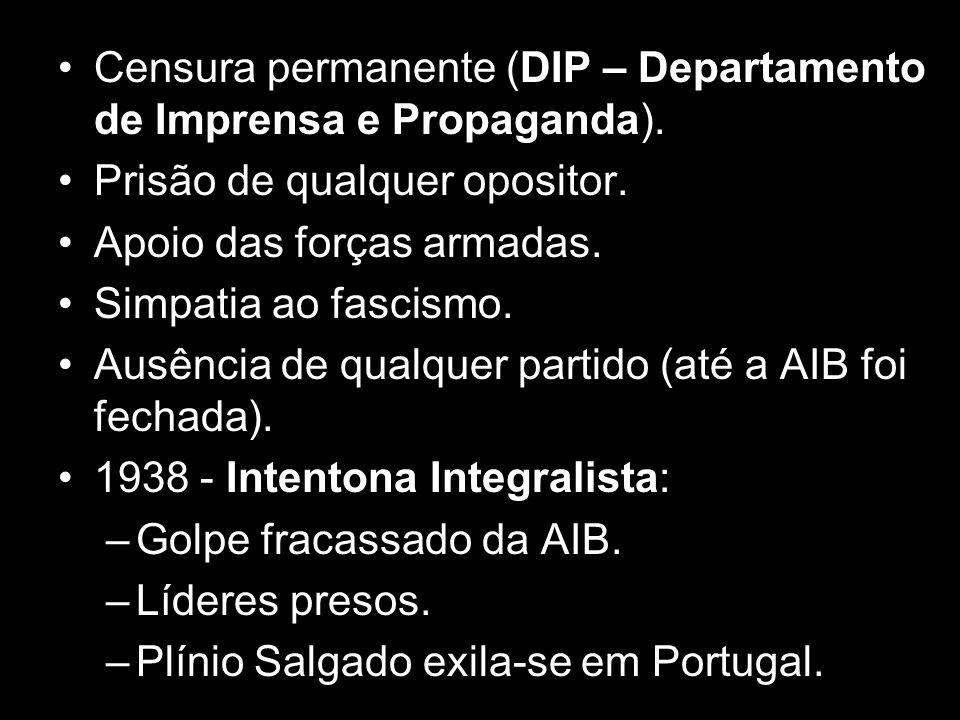 Censura permanente (DIP – Departamento de Imprensa e Propaganda).