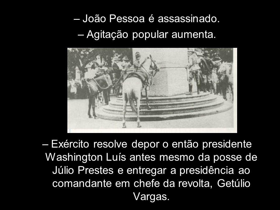 João Pessoa é assassinado. Agitação popular aumenta.