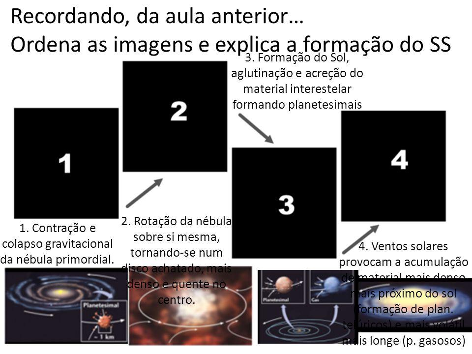 1. Contração e colapso gravitacional da nébula primordial.