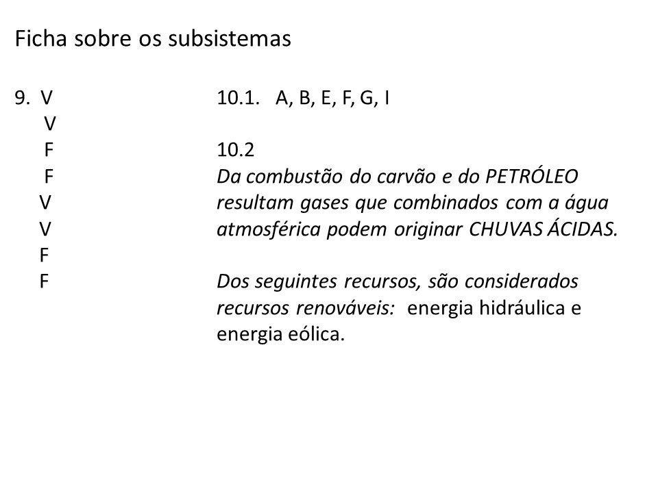 Ficha sobre os subsistemas