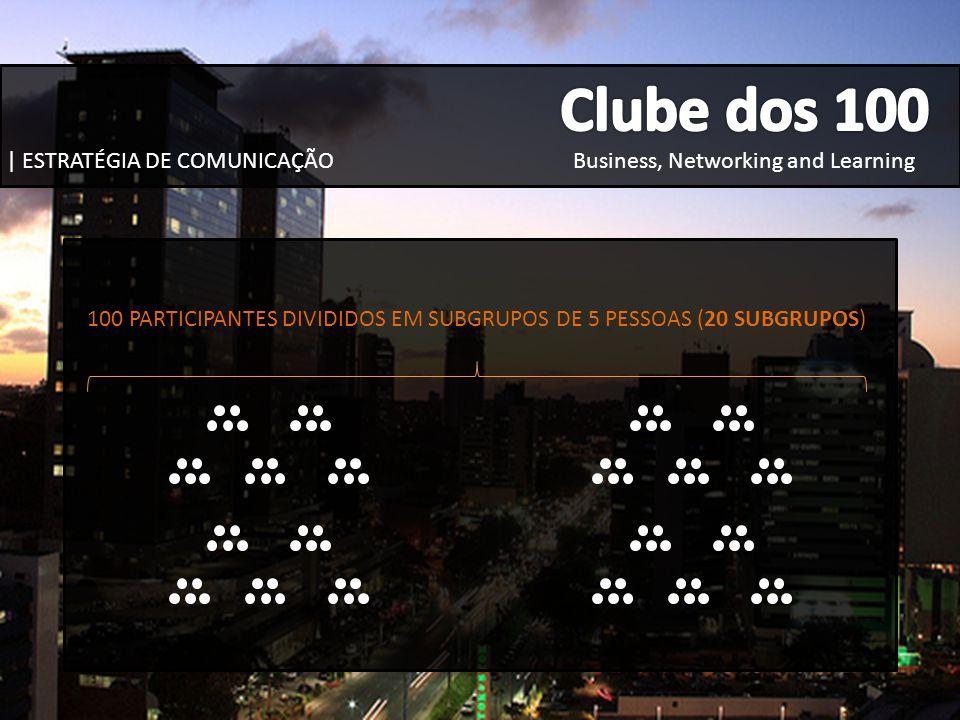 100 PARTICIPANTES DIVIDIDOS EM SUBGRUPOS DE 5 PESSOAS (20 SUBGRUPOS)