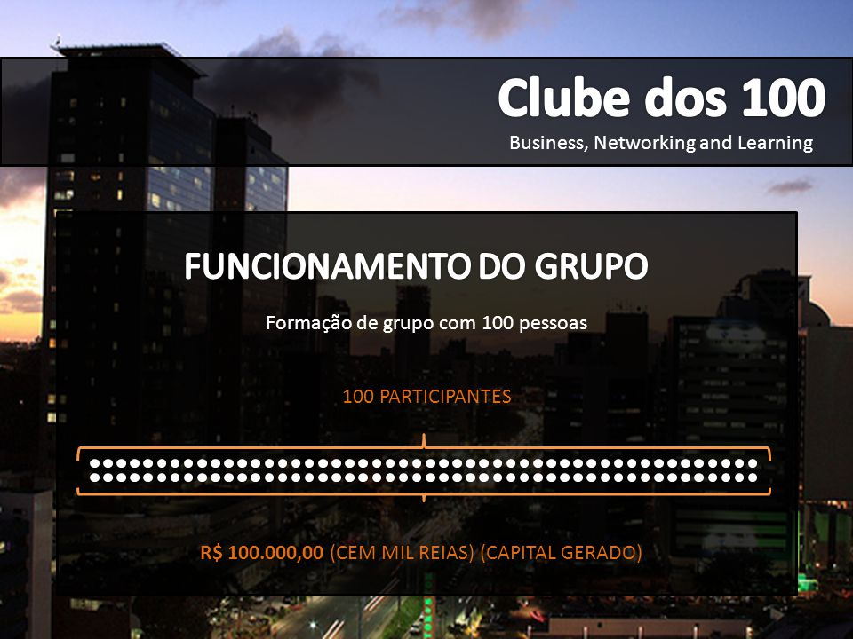 Clube dos 100 FUNCIONAMENTO DO GRUPO Business, Networking and Learning