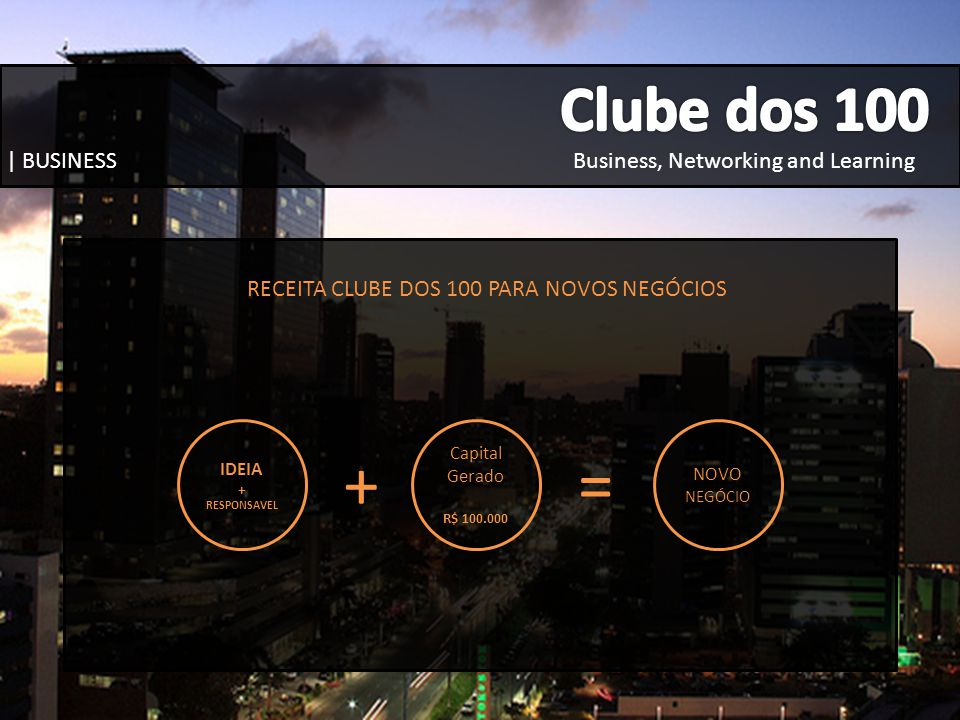 RECEITA CLUBE DOS 100 PARA NOVOS NEGÓCIOS