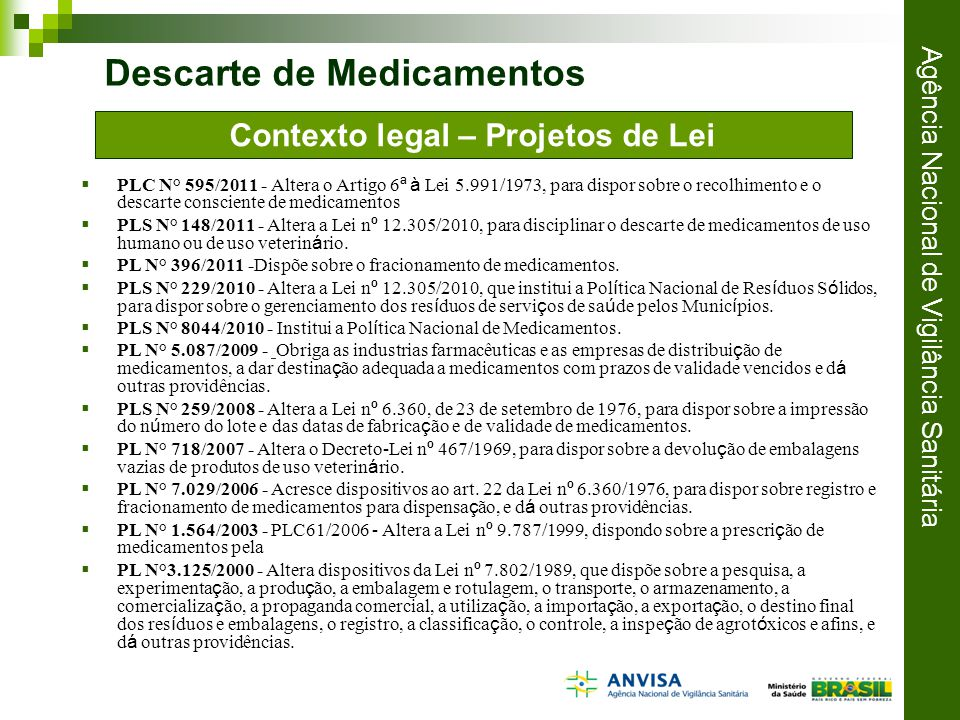 Contexto legal – Projetos de Lei