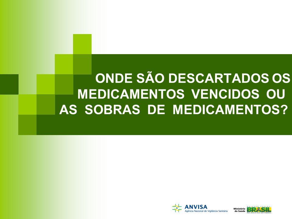 ONDE SÃO DESCARTADOS OS MEDICAMENTOS VENCIDOS OU AS SOBRAS DE MEDICAMENTOS