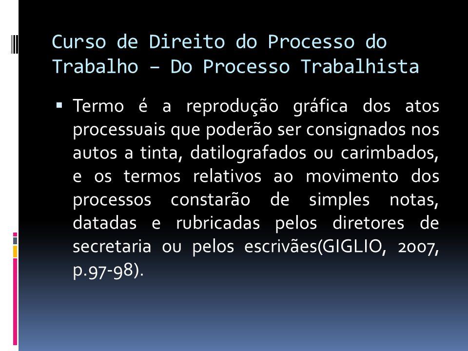 Curso de Direito do Processo do Trabalho – Do Processo Trabalhista
