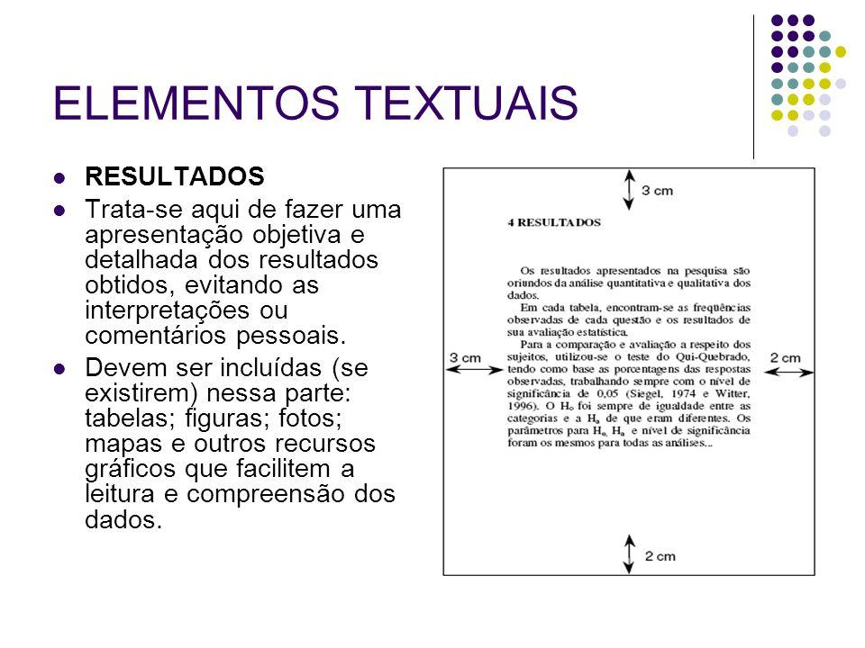 ELEMENTOS TEXTUAIS RESULTADOS