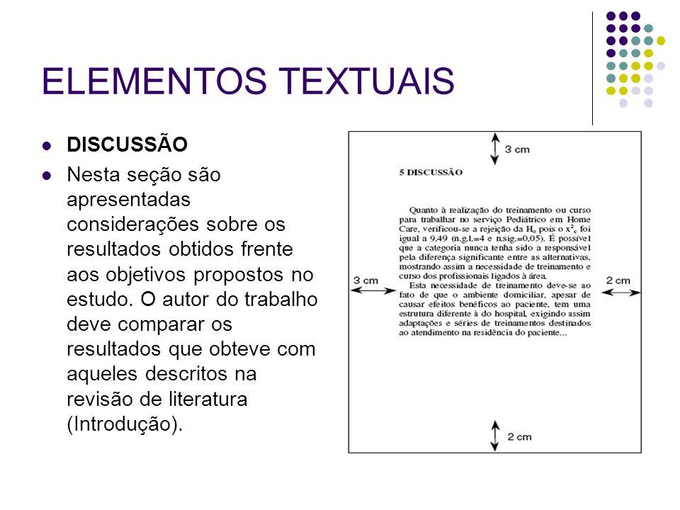 ELEMENTOS TEXTUAIS DISCUSSÃO