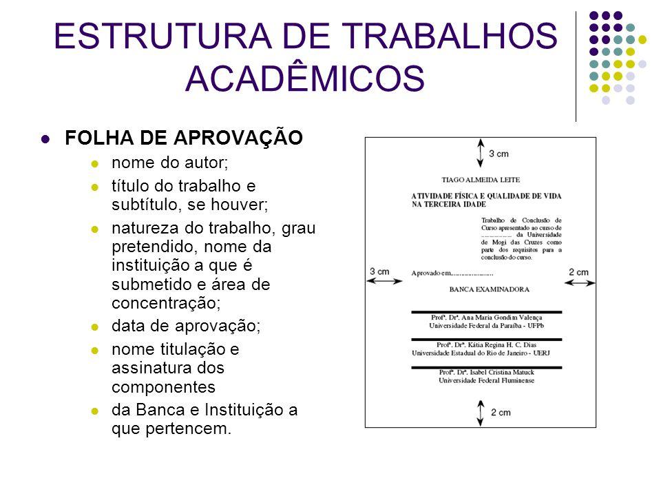 ESTRUTURA DE TRABALHOS ACADÊMICOS
