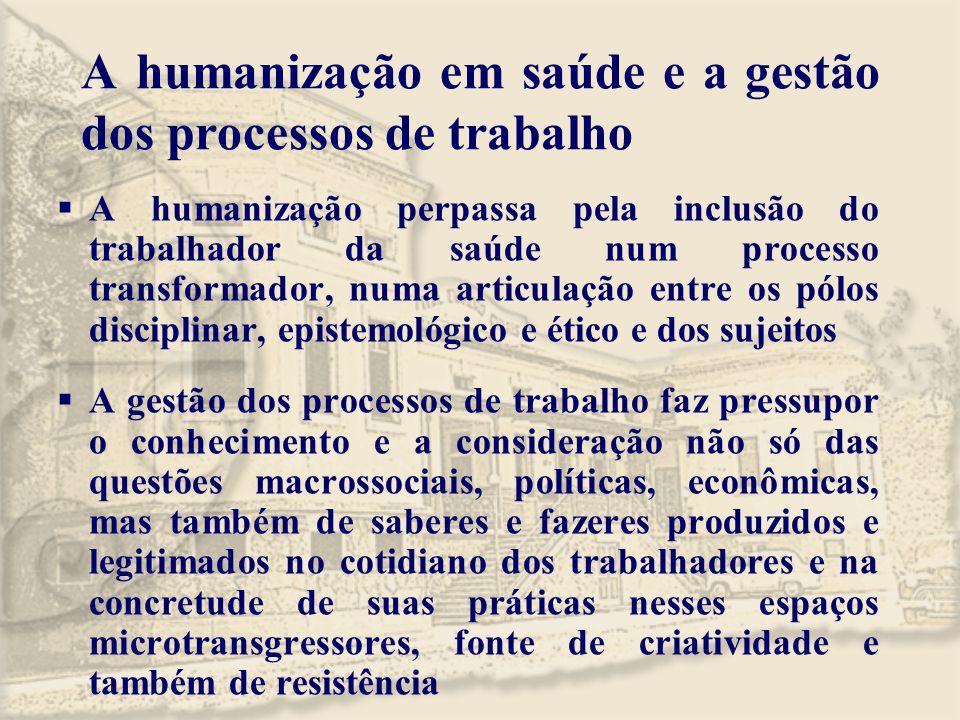 A humanização em saúde e a gestão dos processos de trabalho