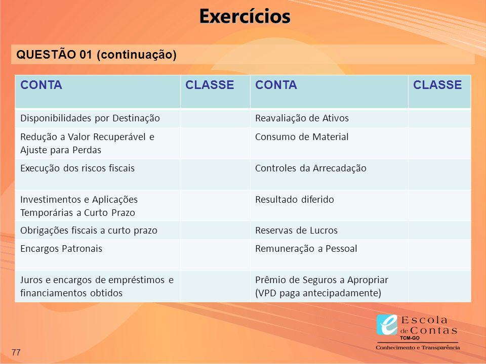 Exercícios QUESTÃO 01 (continuação) CONTA CLASSE