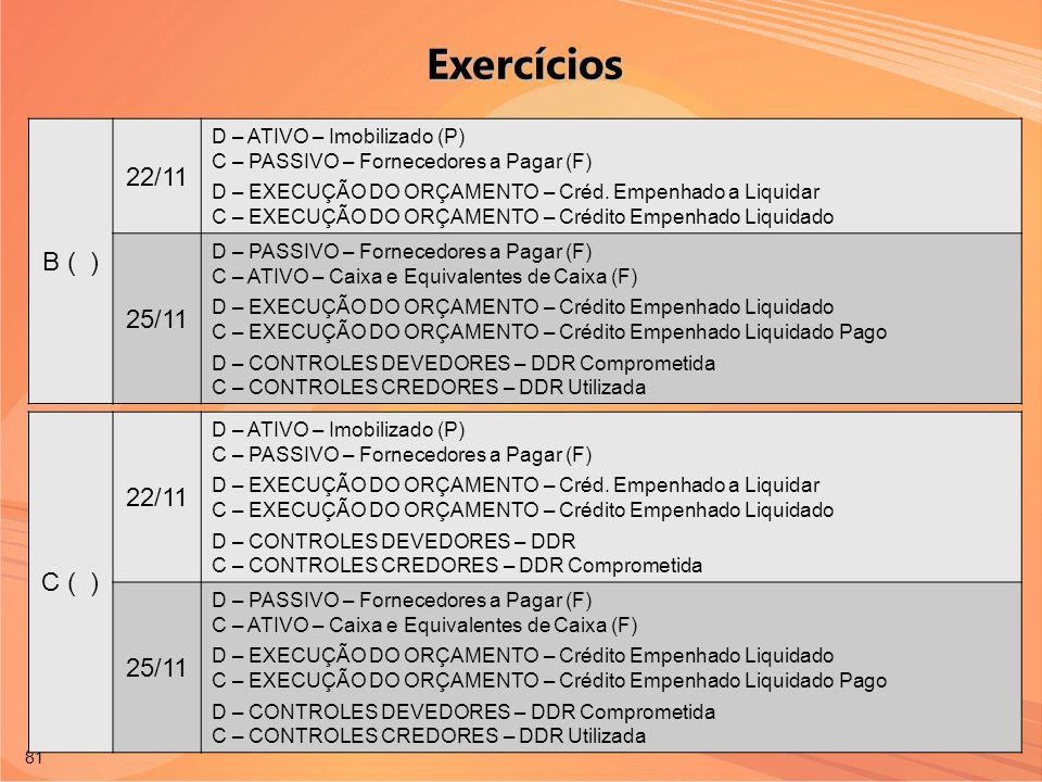 Exercícios B ( ) 22/11 25/11 C ( ) 22/11 25/11