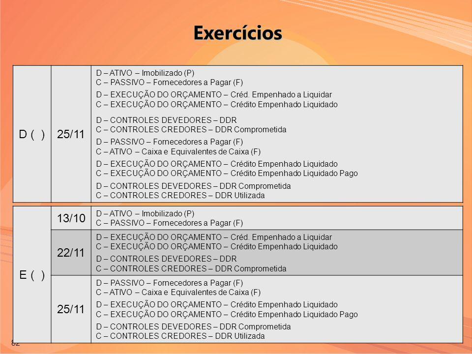 Exercícios D ( ) 25/11 E ( ) 13/10 22/11 25/11