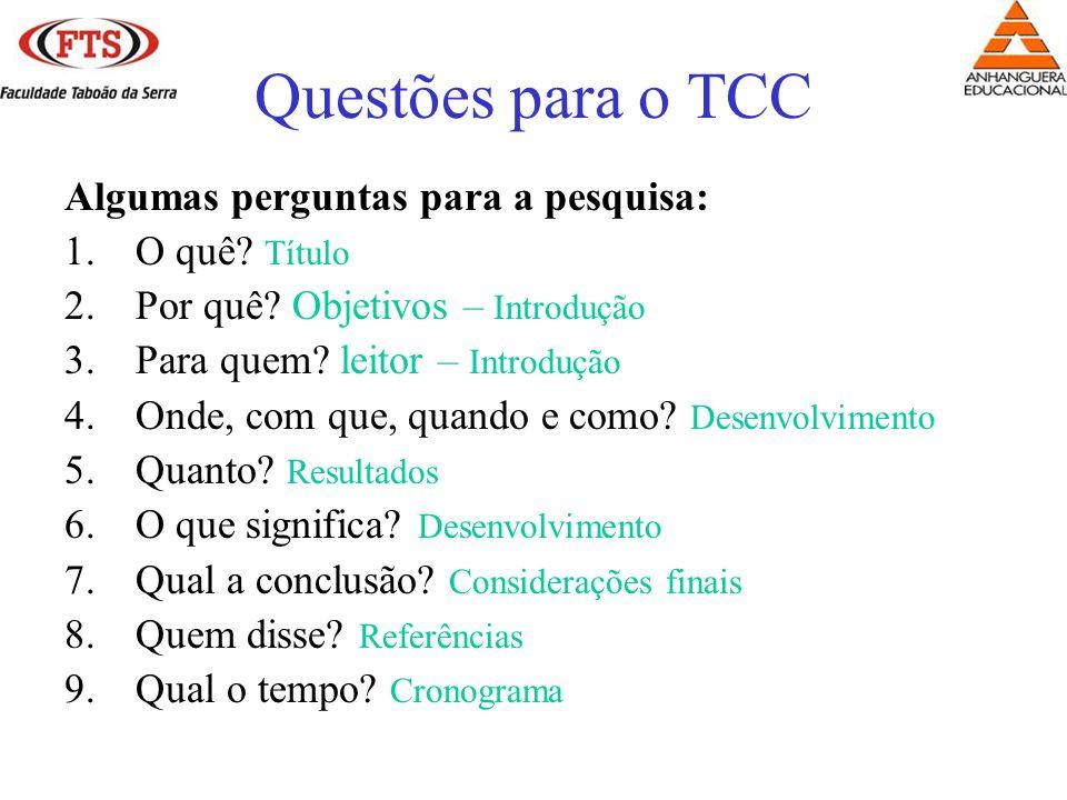 Questões para o TCC Algumas perguntas para a pesquisa: O quê Título