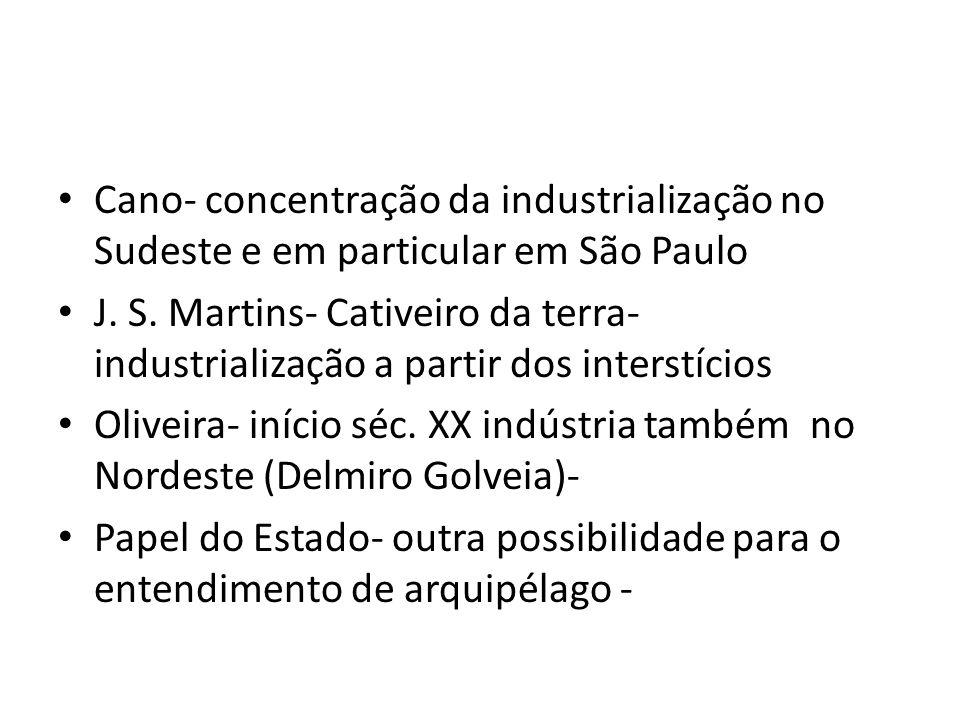 Cano- concentração da industrialização no Sudeste e em particular em São Paulo