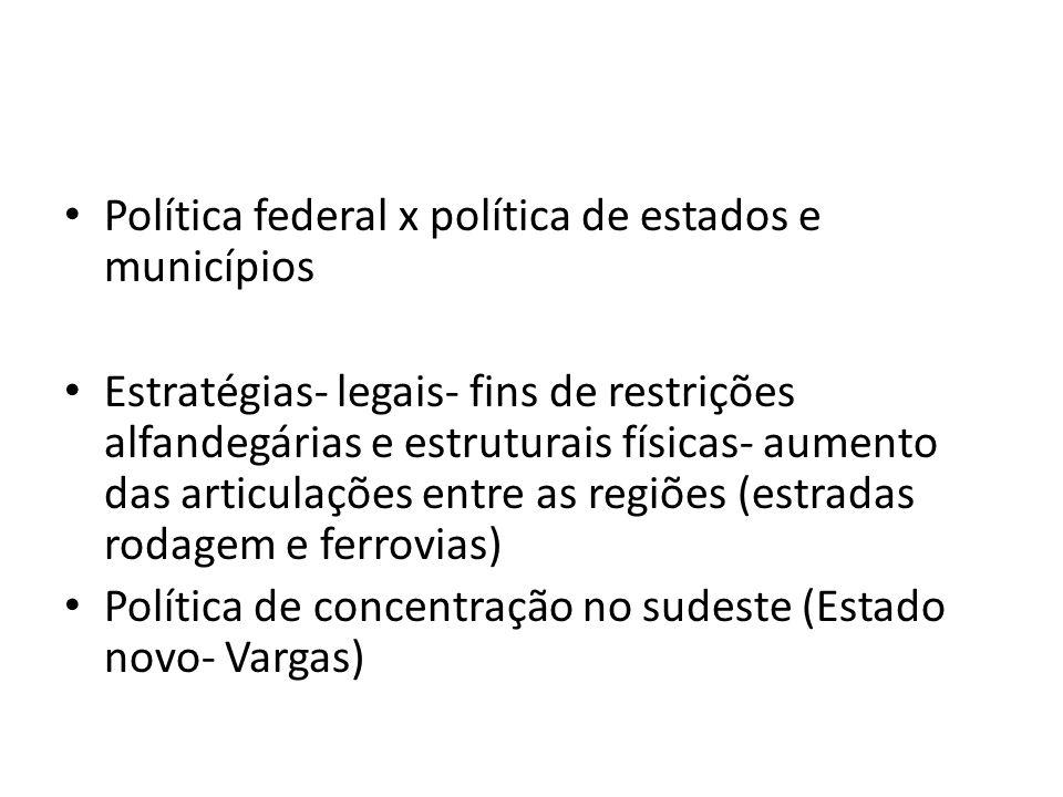 Política federal x política de estados e municípios