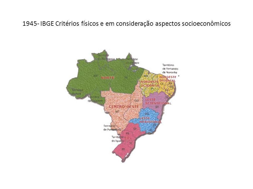 1945- IBGE Critérios físicos e em consideração aspectos socioeconômicos