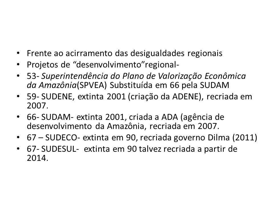 Frente ao acirramento das desigualdades regionais