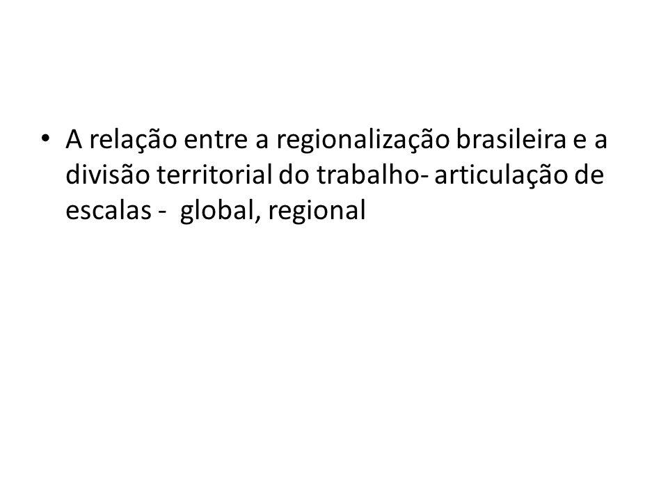 A relação entre a regionalização brasileira e a divisão territorial do trabalho- articulação de escalas - global, regional