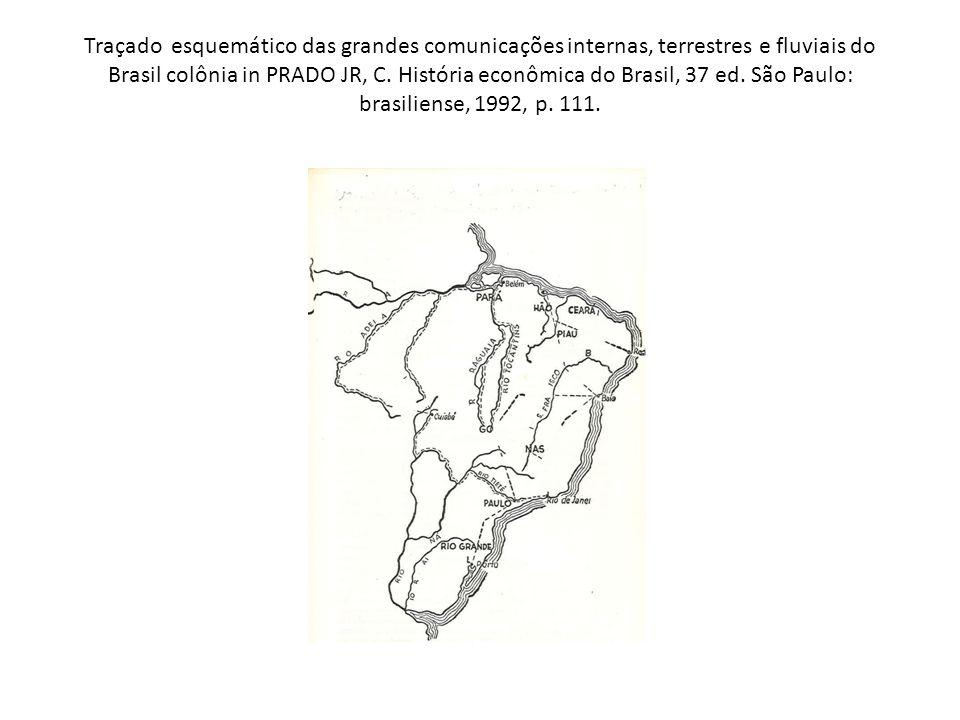 Traçado esquemático das grandes comunicações internas, terrestres e fluviais do Brasil colônia in PRADO JR, C.