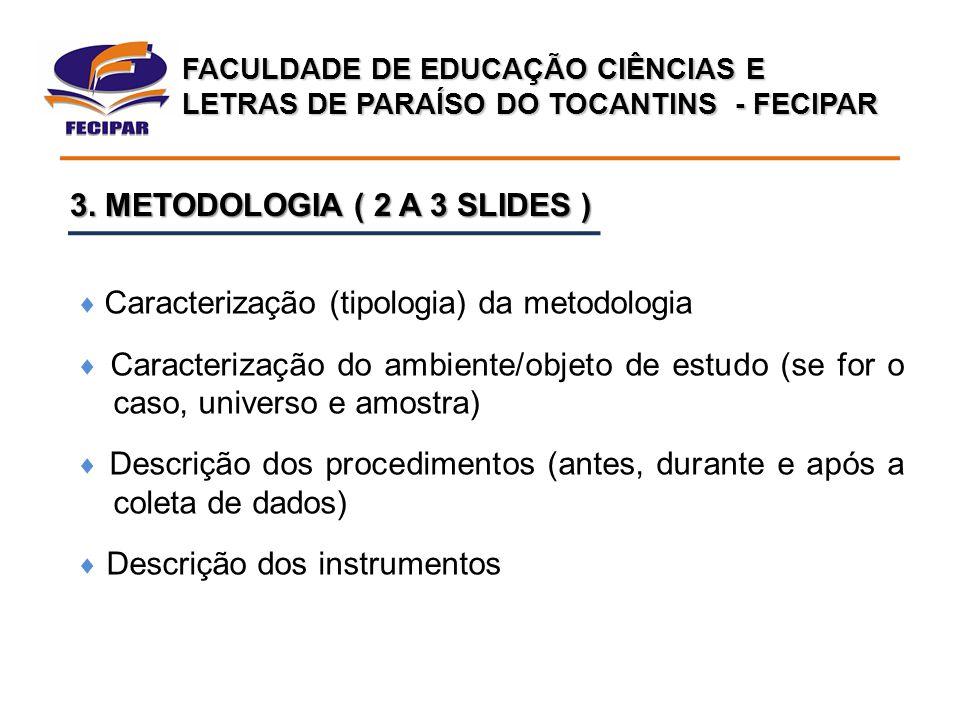 3. METODOLOGIA ( 2 A 3 SLIDES )