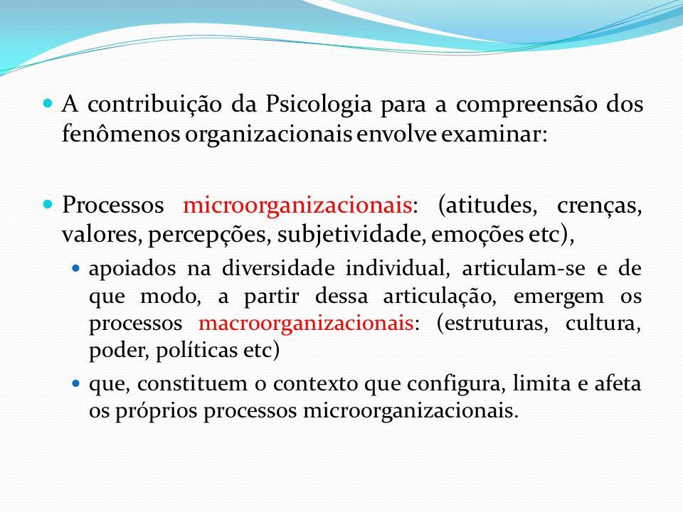 A contribuição da Psicologia para a compreensão dos fenômenos organizacionais envolve examinar: