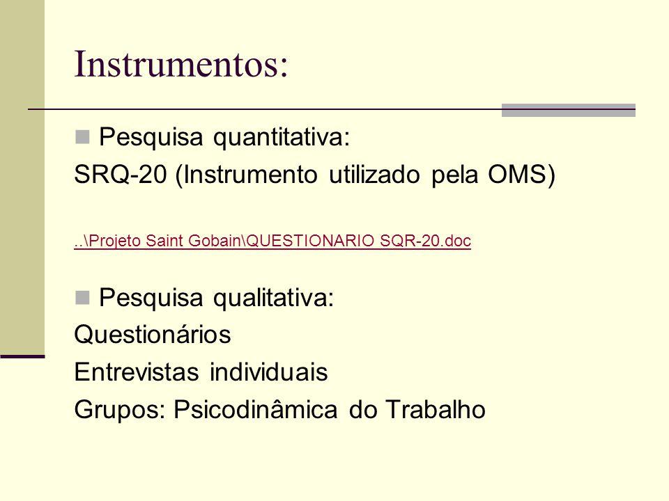 Instrumentos: Pesquisa quantitativa: