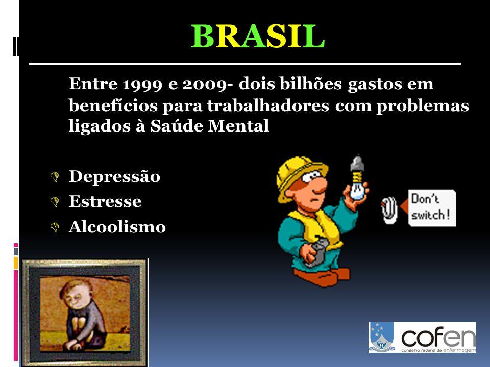 BRASIL Entre 1999 e 2009- dois bilhões gastos em benefícios para trabalhadores com problemas ligados à Saúde Mental.