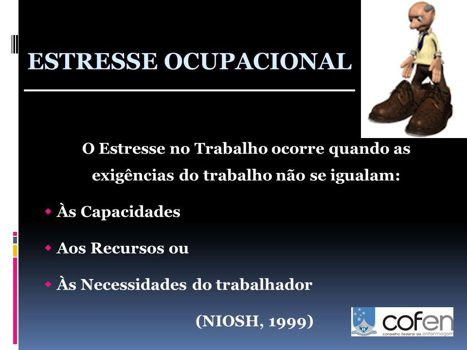 ESTRESSE OCUPACIONAL O Estresse no Trabalho ocorre quando as exigências do trabalho não se igualam: