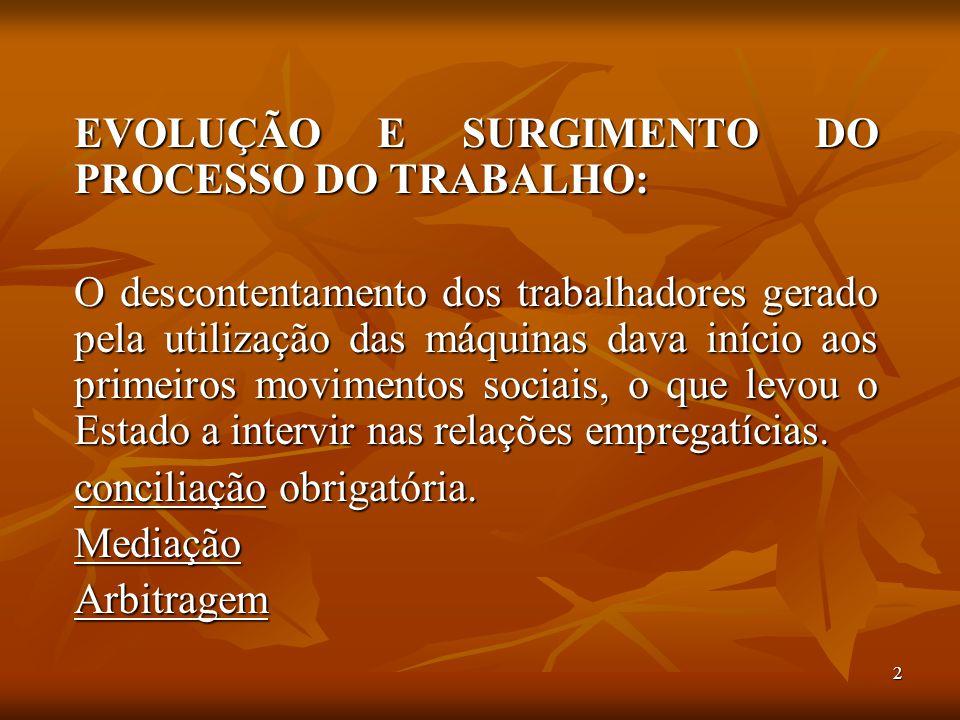 EVOLUÇÃO E SURGIMENTO DO PROCESSO DO TRABALHO: