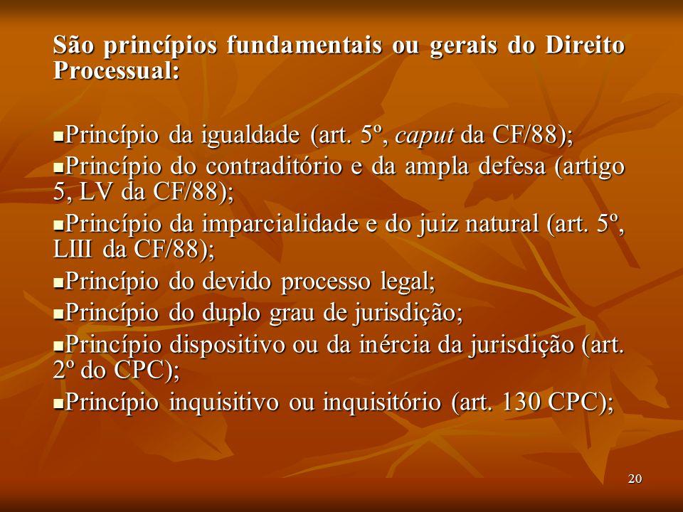 São princípios fundamentais ou gerais do Direito Processual: