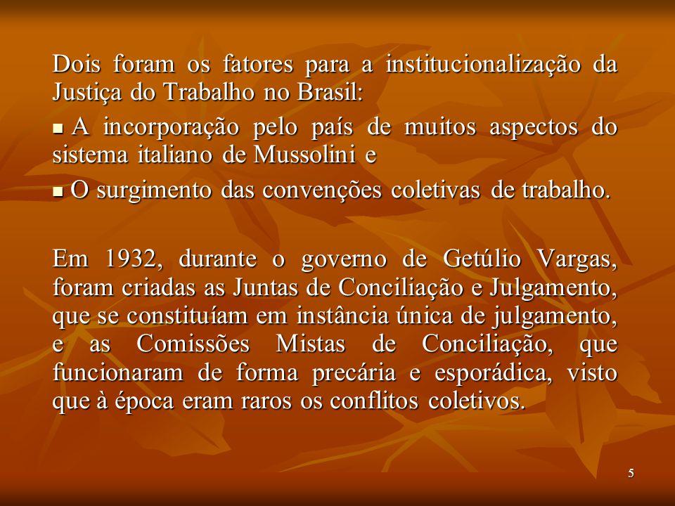 Dois foram os fatores para a institucionalização da Justiça do Trabalho no Brasil:
