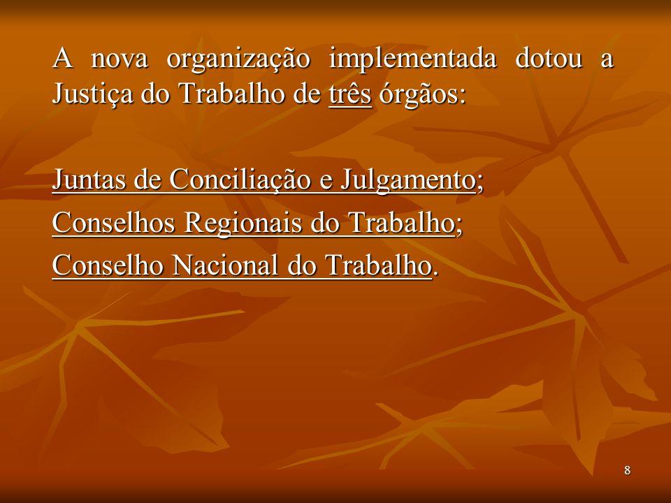 A nova organização implementada dotou a Justiça do Trabalho de três órgãos: