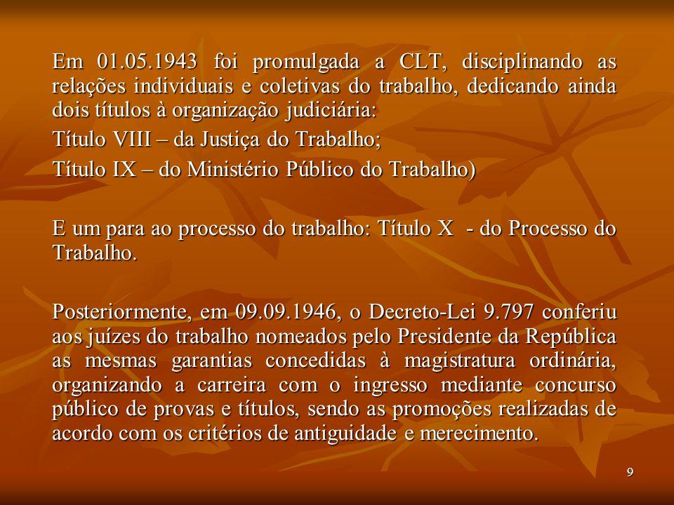 Em 01.05.1943 foi promulgada a CLT, disciplinando as relações individuais e coletivas do trabalho, dedicando ainda dois títulos à organização judiciária: