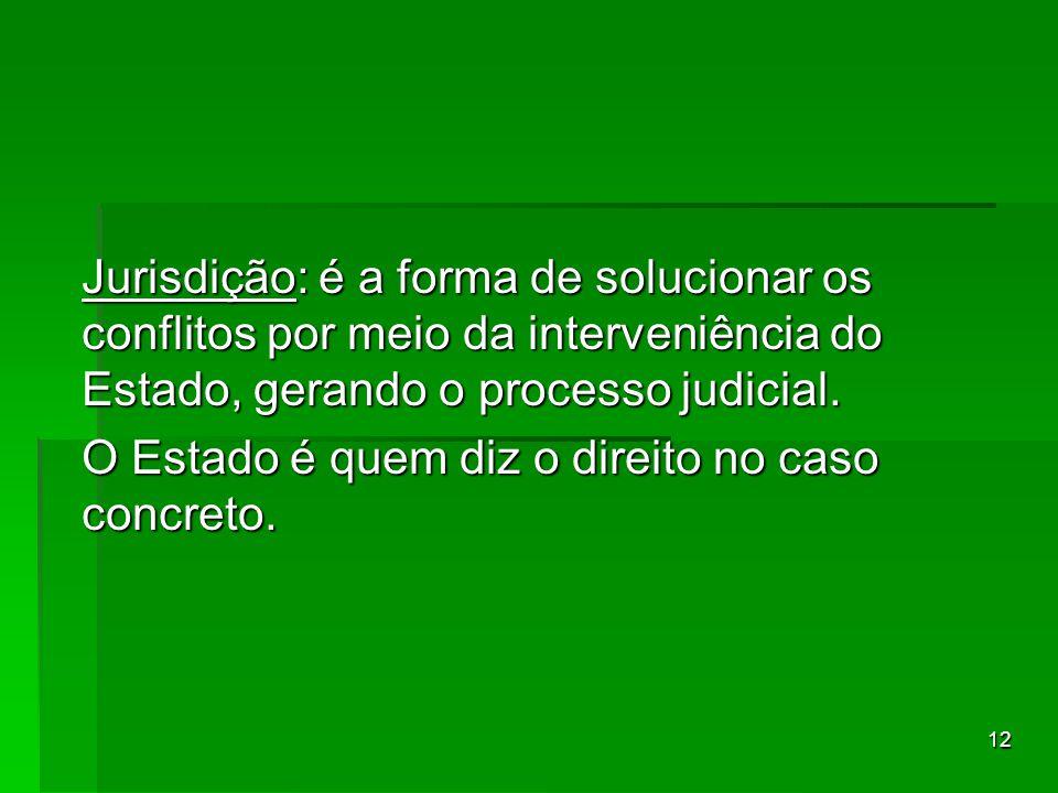 Jurisdição: é a forma de solucionar os conflitos por meio da interveniência do Estado, gerando o processo judicial.