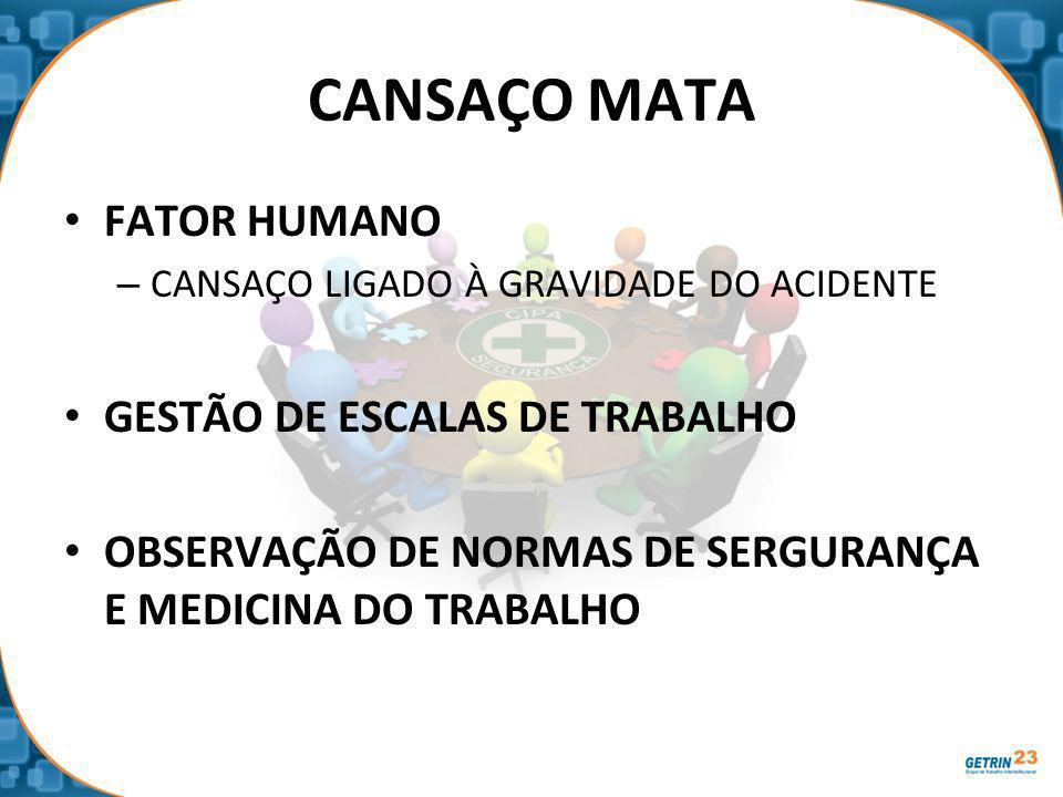 CANSAÇO MATA FATOR HUMANO GESTÃO DE ESCALAS DE TRABALHO