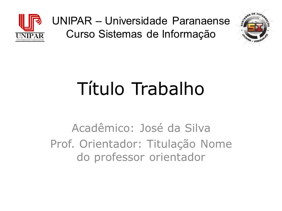 Título Trabalho UNIPAR – Universidade Paranaense