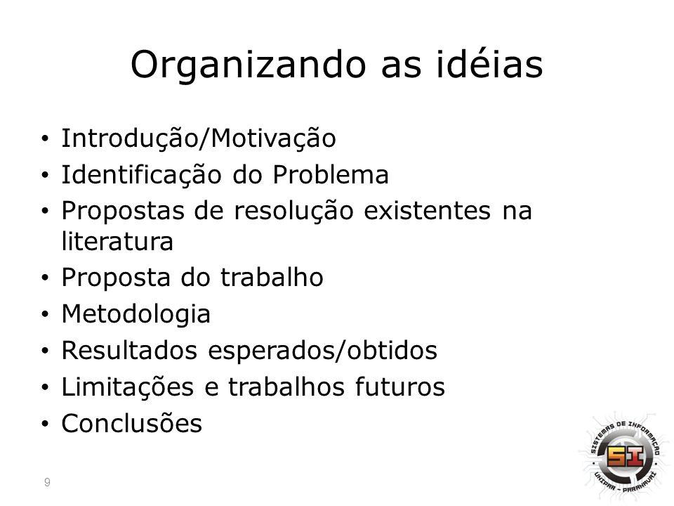 Organizando as idéias Introdução/Motivação Identificação do Problema