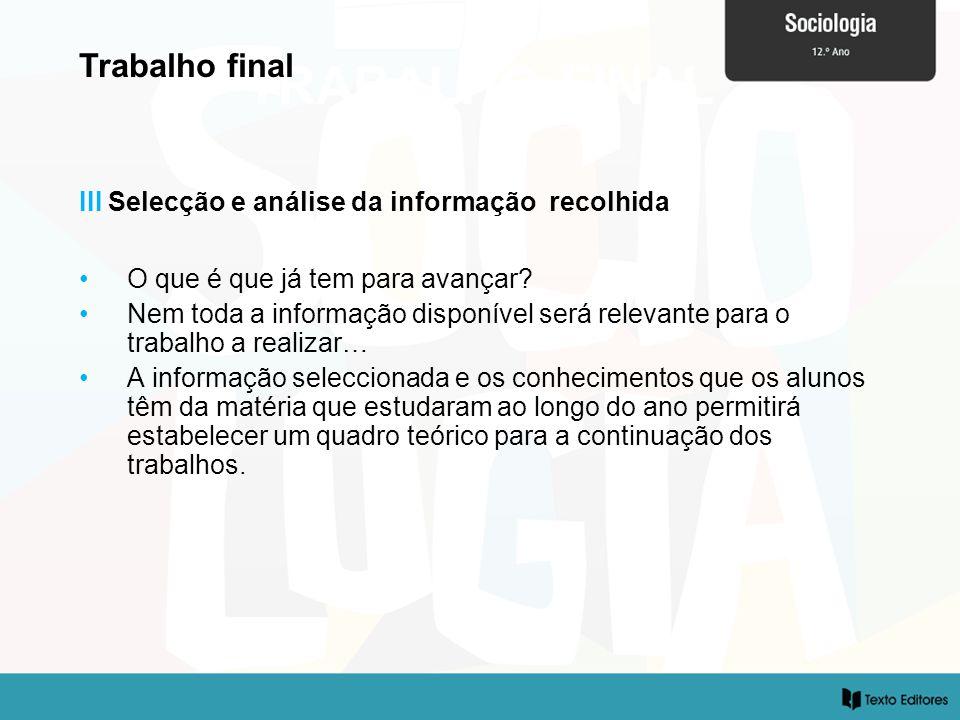 TRABALHO FINAL Trabalho final