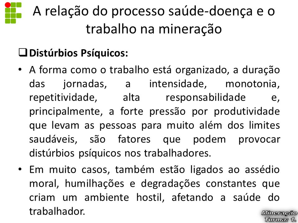 A relação do processo saúde-doença e o trabalho na mineração