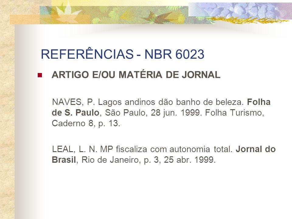 REFERÊNCIAS - NBR 6023 ARTIGO E/OU MATÉRIA DE JORNAL