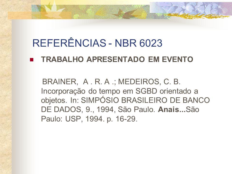 REFERÊNCIAS - NBR 6023 TRABALHO APRESENTADO EM EVENTO