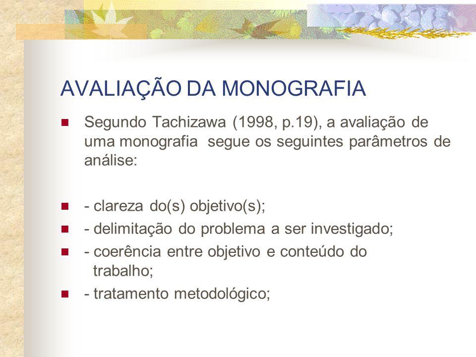 AVALIAÇÃO DA MONOGRAFIA