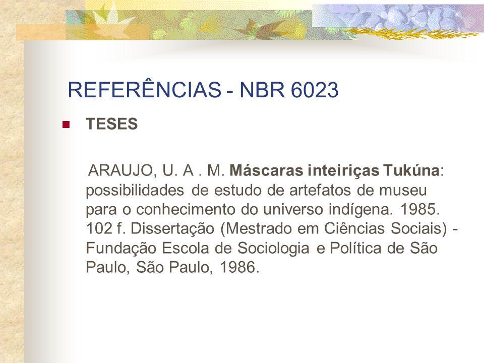REFERÊNCIAS - NBR 6023 TESES