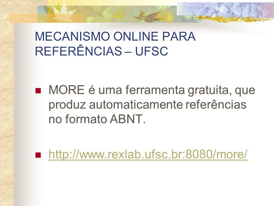 MECANISMO ONLINE PARA REFERÊNCIAS – UFSC