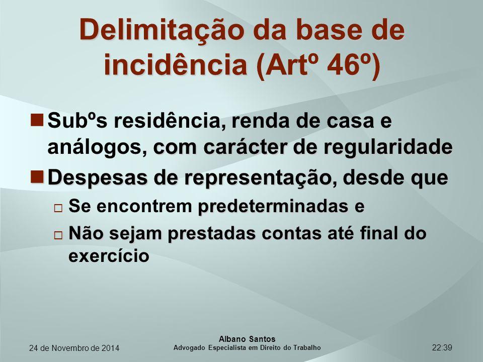Delimitação da base de incidência (Artº 46º)