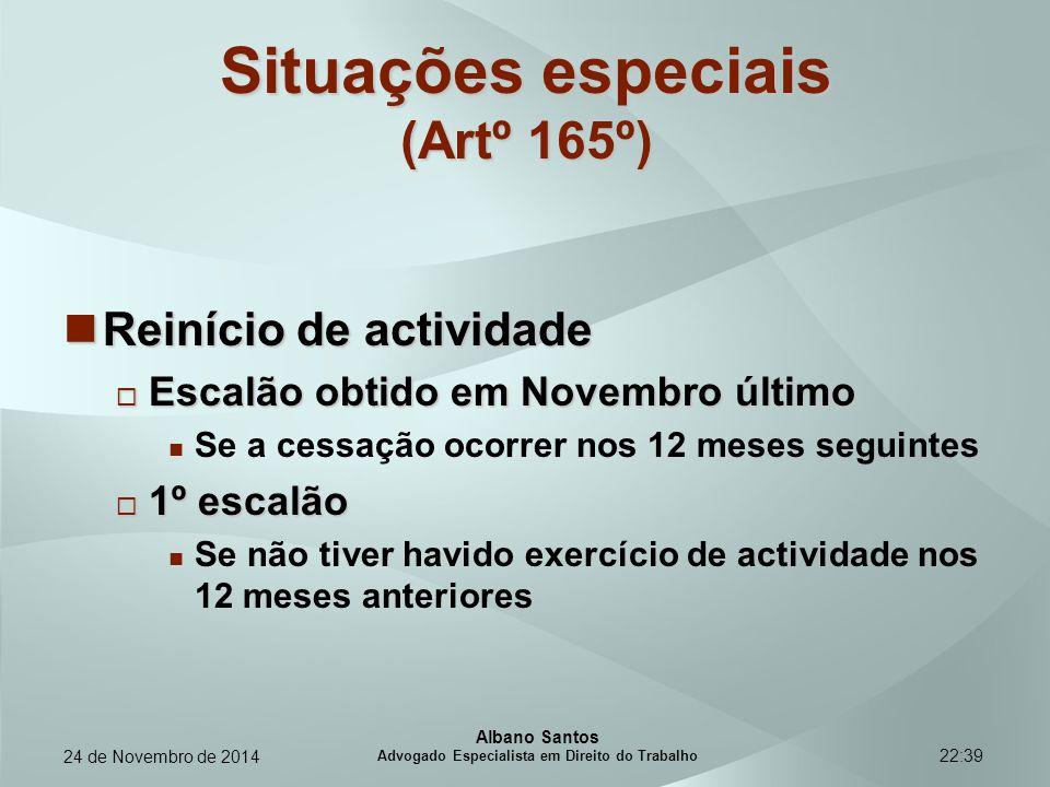 Situações especiais (Artº 165º)