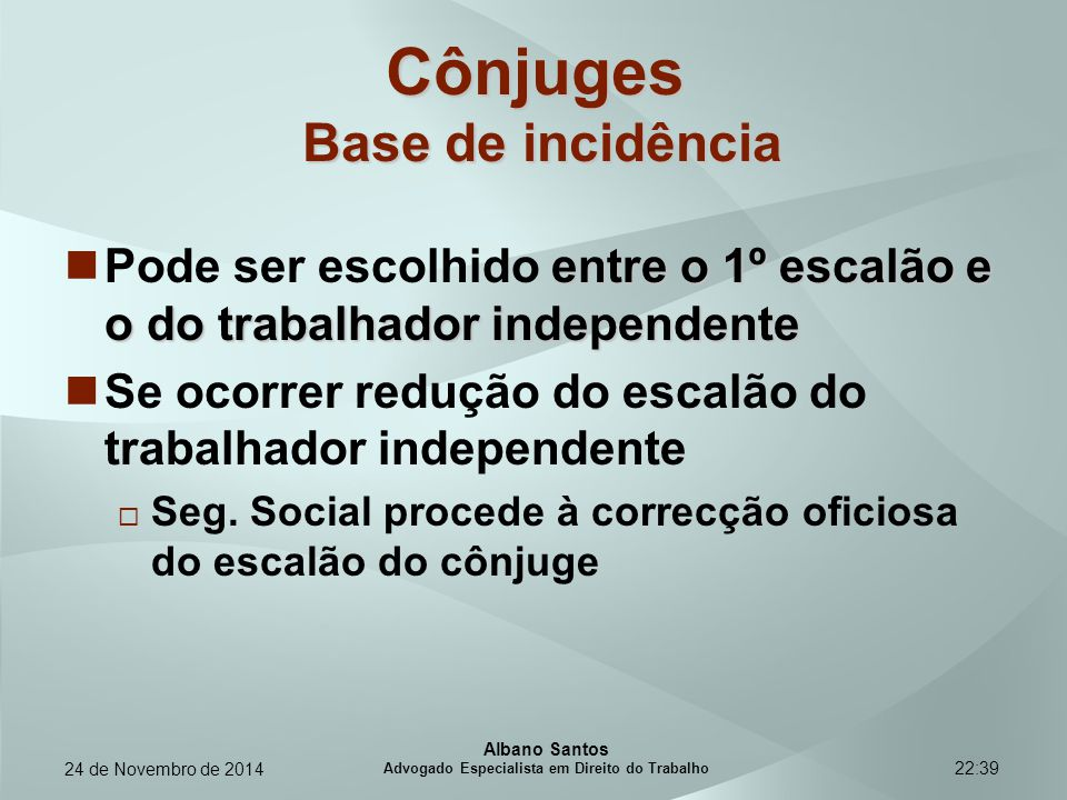 Cônjuges Base de incidência